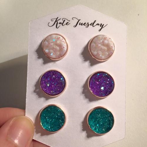 Beautiful & Multicolor Eve Triple Druzy Earrings Set