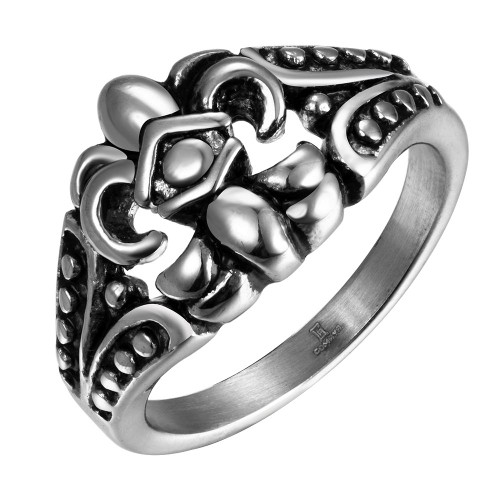 316L Stainless Steel Curved Emblem Men's Ring Gold Plated