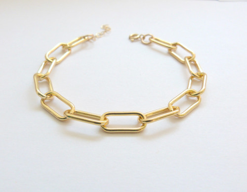 Chunky Gold Paperclip Chain Bracelet
