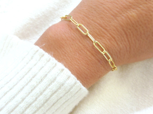 Beautiful 14k Gold PaperClip Chain Bracelet