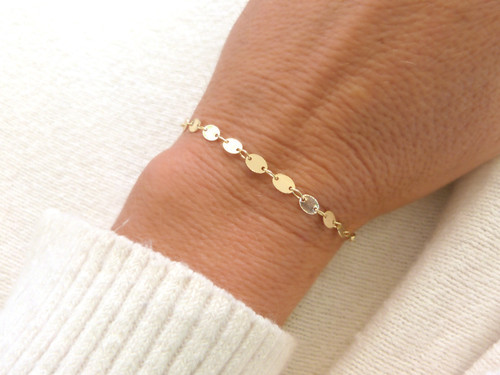 6.5 inches Gold Filled Coin Chain Bracelet