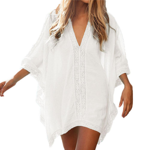 Womens Tunic Swimsuit Cover up with Crochet Trim
