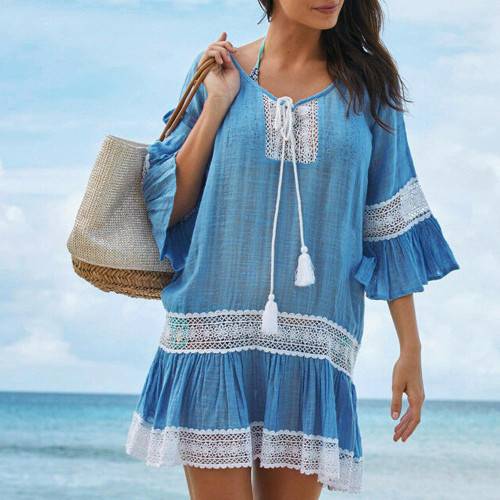 Womens Boho Tunic with Crochet Swimsuit Cover Up