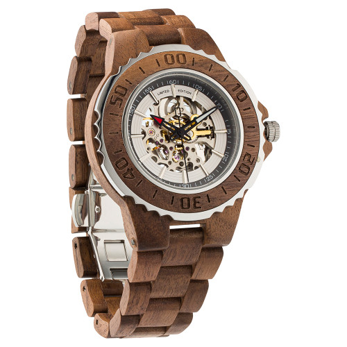 Men's Genuine No Battery Needed Automatic Walnut Wooden Watches