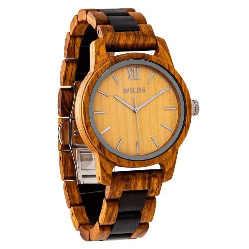 Men's Handmade Engraved Ambila Wooden Timepiece Watch