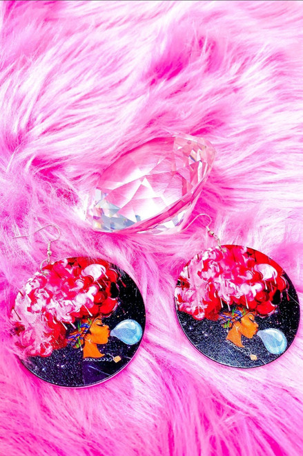 2.25 inches Handmade Pink Afro Queen Nickel-Free Hoops Earrings
