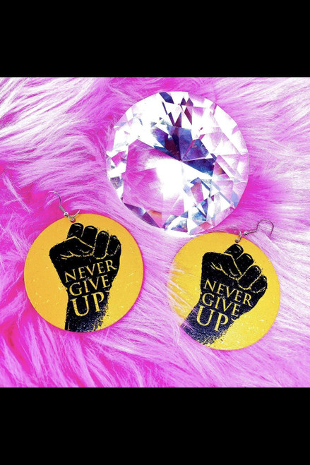 2.25 inches Nickel Free Yellow Never Give Up Hoops Drop Earrings