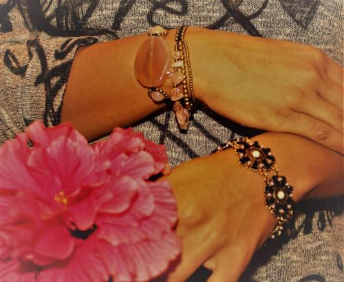 7 inches Peach Agate Slice & Rose Quartz Bracelet