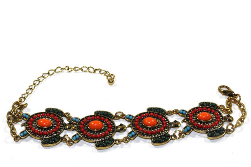 7.5 inches Handmade Colorful Bead Drop Turtle Bracelet