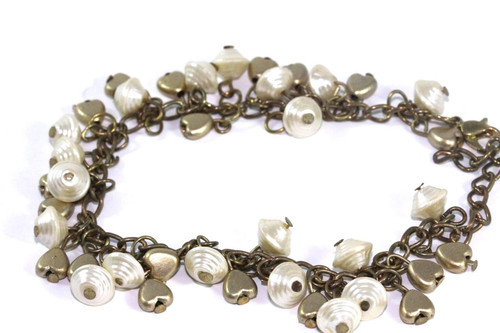 7.5 inches Golden Hearts & Shells Charm Bracelet