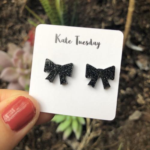 Gorgeous Black Sparkly Bow Acrylic Earrings