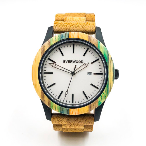 Inverness Eco-Friendly Multi Colored Bamboo 3 hand Watch