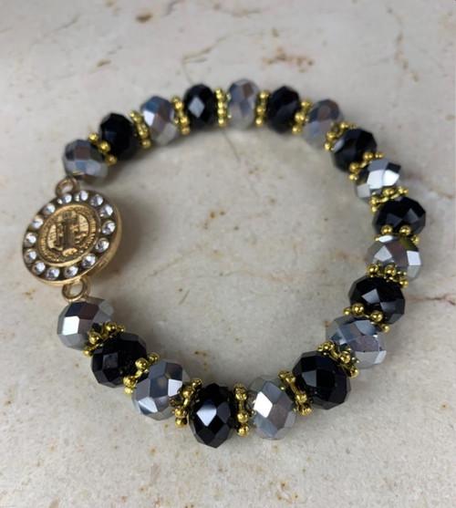 Black & Silver Stylish Unisex Custom Hand Bracelet