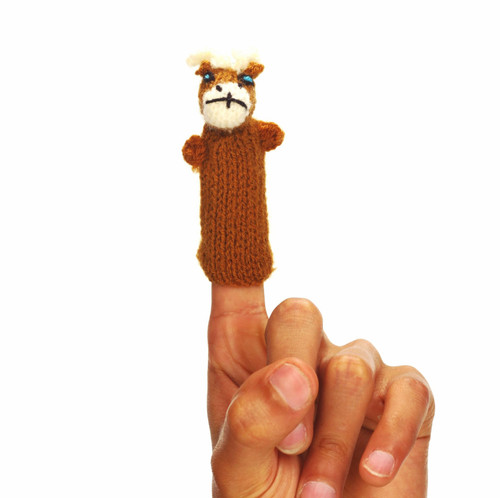 Handmade And Eco Friendly Brown Reindeer Finger Puppet