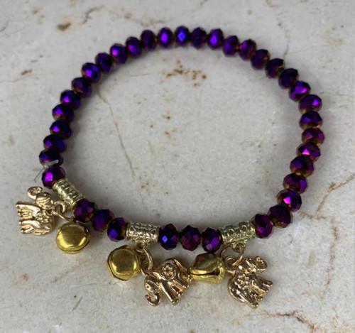 Stylish And Popular Purple & Gold Unisex Custom Hand Bracelet