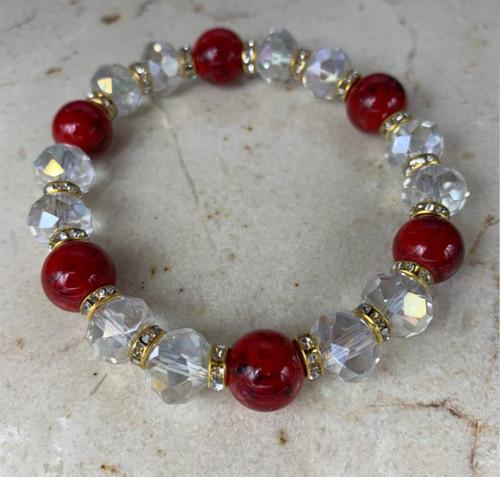 Red & White Handmade Unisex Custom Bracelet