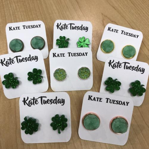 Saint Patricks Day Druzy Earring Box Many Leaf Shamrock