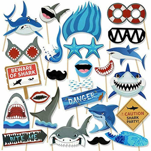 Photo Booth Props Sharks! - Party On New Sea Level - 25 Pcs