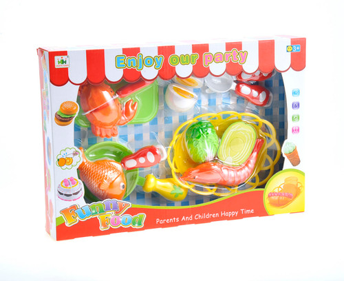 Colourful Seafood Cutting Food Playset With Cutting Board & Knife