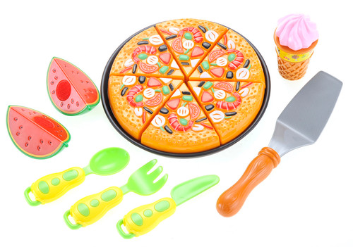 Pizza Playset With Watermelon, Icecream And Utensils- Looks Delicious