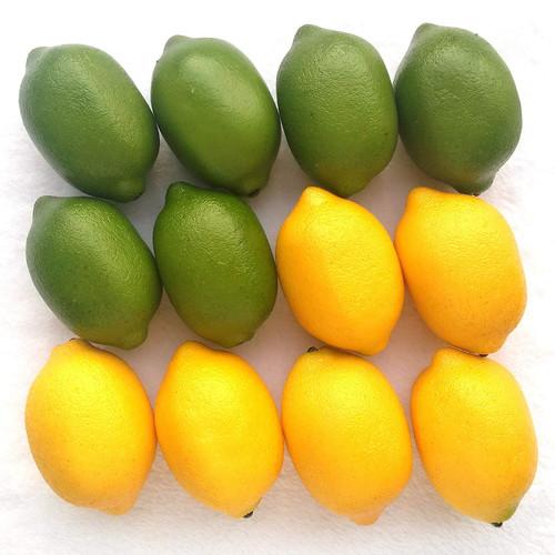 Artificial 12 Yellow And Green Lifelike Fake Lemons