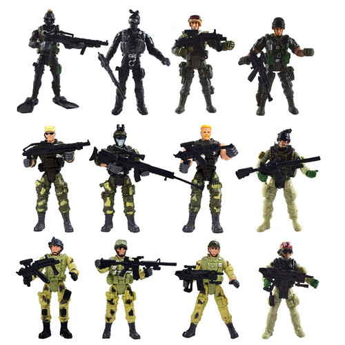 Special Force Army SWAT Soldiers Action Figures with Weapons and Accessories,12 Figures/Pack