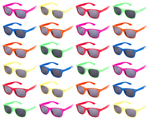 24 pc Neon Kids Sunglasses- Add A Stunning New Look To Your Party