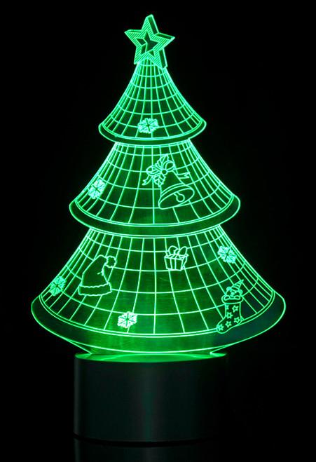 Magical 3D Illusion Lamp Christmas Tree Laser Cut Precision LED Lights