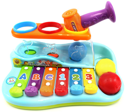 Colorful Rainbow Xylophone Piano Pounding Bench For Kids With Balls And Hammer