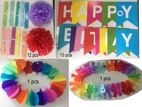 Happy Birthday Party Rainbow Vibrant Color Paper Decorations