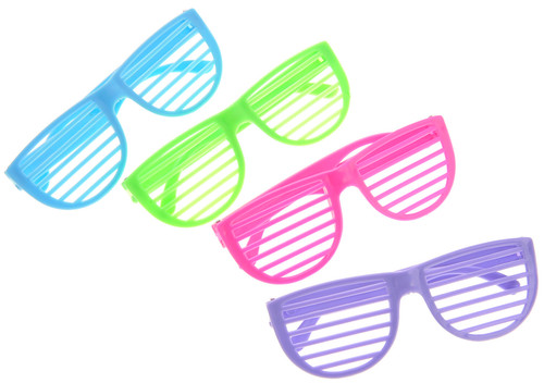 Awesome Plastic Shutter Shades Glasses (12Pairs/PK, Purple,Blue,Green, And Pink)
