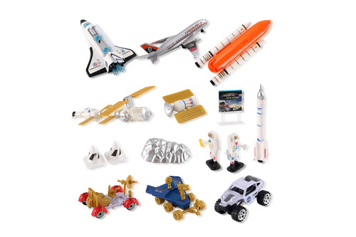 Space Shuttle Playset With Rockets, Satellites, Rovers & Vehicles With Lights & Sounds-15 Pcs