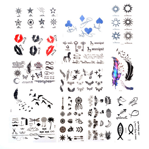 30 Sheet Temporary Tattoos Neck and Wrist Men Women Kids- Easy To Apply