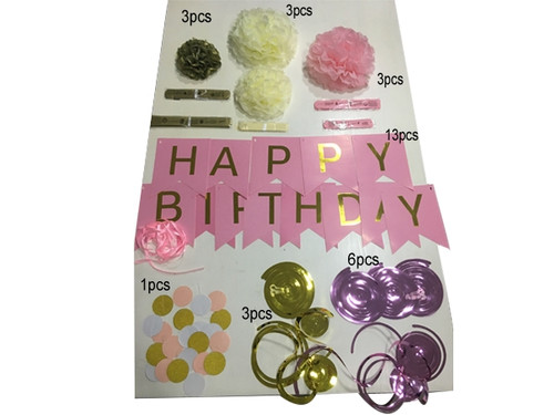 Amazing Happy Birthday Party Pink and Gold Color Paper Decorations Set