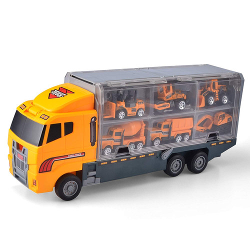 11 in 1 Die-cast Construction Truck Vehicle Carrier Toy Set