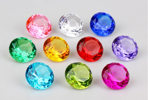 Clear Colorful Assorted Pirate Gems (24 Gems)-Diamond Treasure Chest