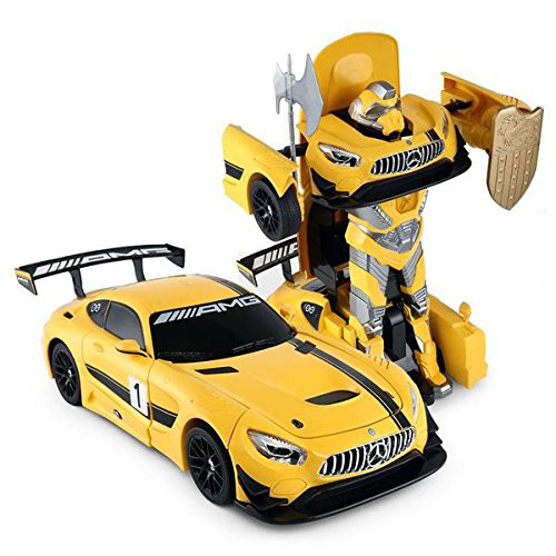 RC Mercedes-Benz GT3 2.4ghz RC Transformer Dancing Robot Car (Yellow)- 2 In 1 Action Figure Toy