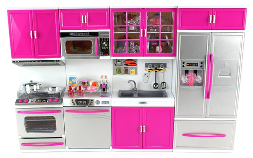 Musical Modern Kitchen Full Deluxe Kit Battery Operated Kitchen Playset : Refrigerator, Stove, Sink, Microwave