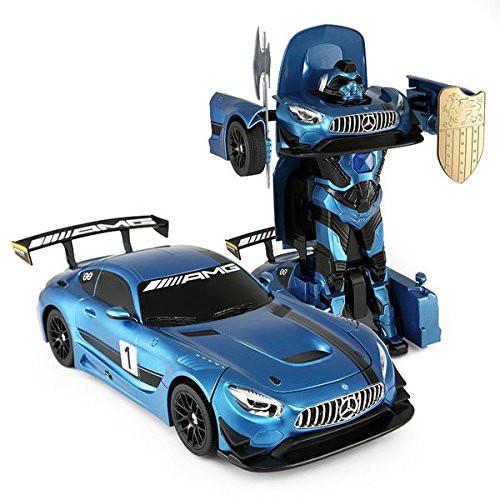RC Mercedes-Benz GT3 2.4ghz Transformer Dancing Robot Car (Blue)- 2 In 1 Action Figure Toy