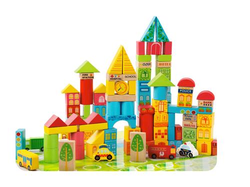 City Transportation Multi-Colored Wooden Building Blocks 100 pc