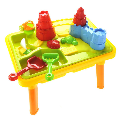 """Durable Plastic 23""""Sandbox Castle 2-In-1 Sand And Water Table Beach Play Set For Kids"""