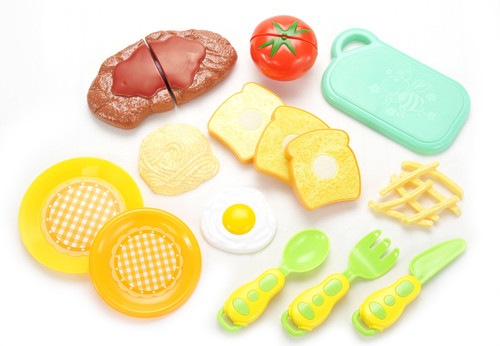 Colorful Kitchen Fun Steak And Egg Dinner Cutting Food Playset