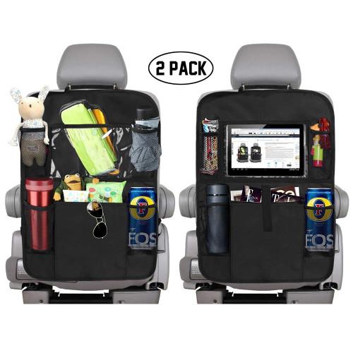Backseat Car Organizer With 5 Storage Pockets And Tablet Holder Set Of 2