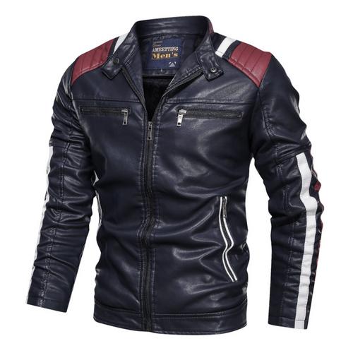 Mens Biker Vegan Leather Jacket With Shoulder Details