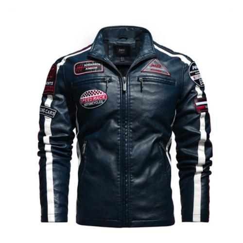 Mens Biker Vegan Leather Jacket With Badges