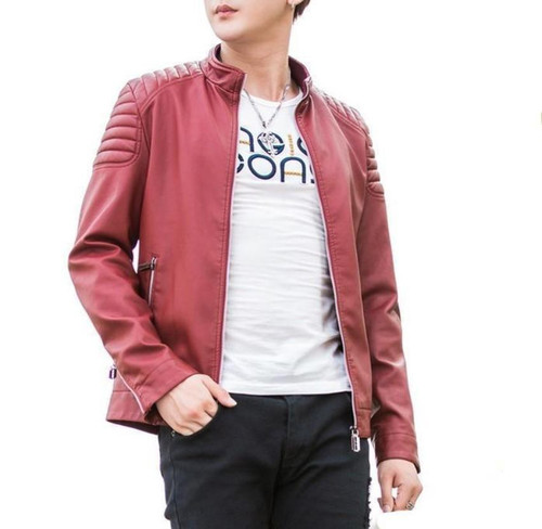 Mens Slim Fit Red Biker Faux Leather Jacket