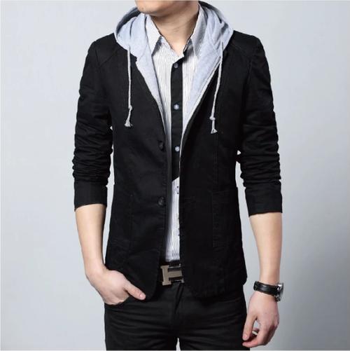 Mens Street Style Hooded Blazer