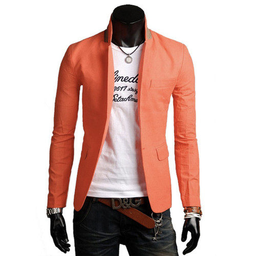 Mens Comfortable & Stylish Stand Collar Casual Blazer
