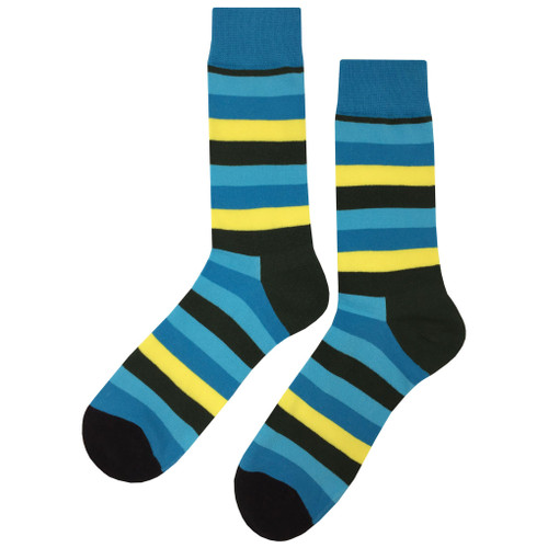 Printed Soft and Breathable Relax Blue Stripe Socks