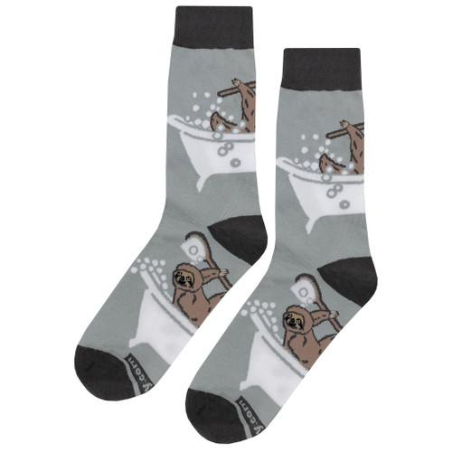 Gray Soft and Breathable Bathing Sloth Socks
